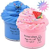 Pink Butter Slime Watermelon Charm, Blue Floam Slime Premade with Stitch Charm, Scented Slime Cotton Mud DIY Sludge Toys for Girls Boys, Slime Birthday Party Decorations, 2 Pack