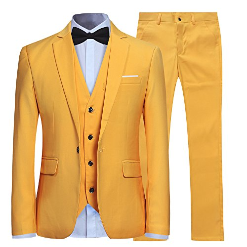 YFFUSHI Men's Slim Fit 3 Piece Suit One Button Business Wedding Prom Suits Blazer Tux Vest & Trousers Yellow