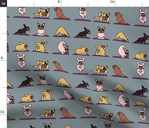 Spoonflower Fabric - Frenchie French Bulldog Kawaii Dog Lovers Printed on Petal Signature Cotton Fabric by The Yard - Sewing Quilting Apparel Crafts Decor