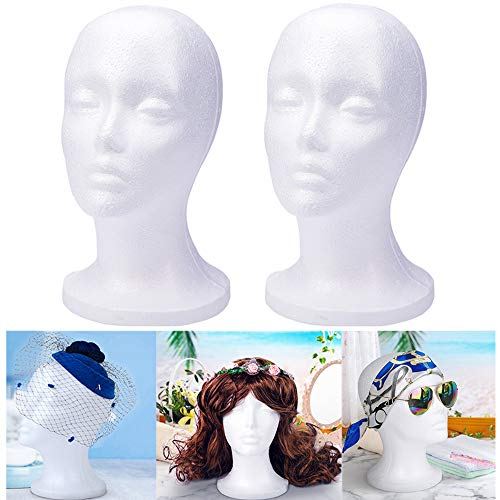 Wig Head - Mannequin Head Stand,Styrofoam Head,Manican Heads Wig Stands,Foam Head Wig Holder Female Wig Mannequin Head,Cosmetic Foam Head for Wigs/Hat/Hairpieces Wig Heads Styrofoam White