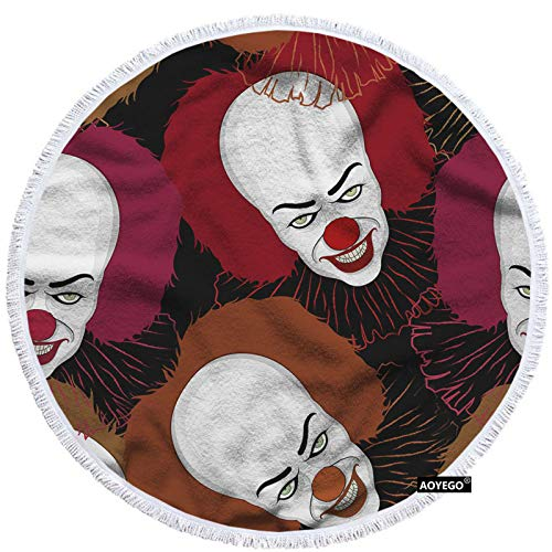 AOYEGO Clowns Hand Towel 15x30 Inch Halloween Scary Skeleton Head Big Red Nose Lips Towel Face Hand Towel Soft Microfiber Kitchen Bathroom for Boys Girls Men