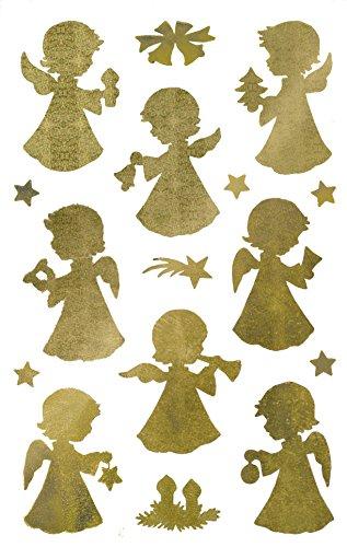 AVERY Zweckform Art. 52393 Aufkleber Weihnachten 32 Engel (Weihnachtssticker, transparente Folie, geprägt, gold, selbstklebend, Deko Weihnachten, Weihnachtspost, Geschenke)
