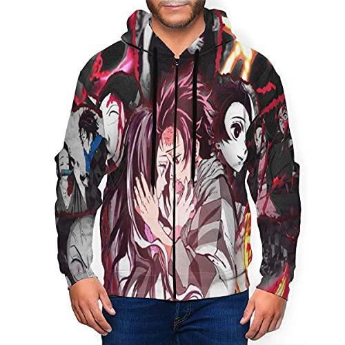 Sudaderas con capucha Hombre Jersey Adulto con Capucha Anime Demon Slayer Kimetsu No Yaiba Sudadera con Cremallera Completa Chaqueta con Capucha de Moda Casual Hombres Mujeres Suéter de Pareja