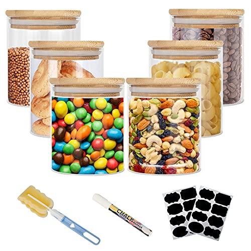 Vorratsdosen Glas, Aufbewahrungsbox Küche Glas 6er Set, Glasbehälter mit Deckel, Vorratsdosen Luftdicht Aus Borosilikatglas, Vorratsglas mit Deckel Set- Vorratsdosen Set|6x450ml