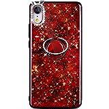 Robinsoni iPhone XR Coque 360 Degrés Rotation Ring Bague Diamond Brillant Glitter Paillette TPU Silicone Étui Housse de Protection Souple Bumper Case Coque pour iPhone XR,Rouge