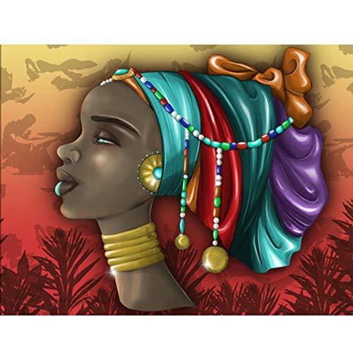 Reofrey 5D Diamond Painting Pendiente Mujer Africana, Pintura Diamante Bricolaje Completo Taladro Arte Exótico, Punto de Cruz Diamantes Bordado Pegatinas de Pared Decoración de La sala 30x40cm