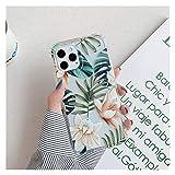 Glqwe Coque de téléphone de Feuille de Fleurs de Papillon Mignon pour iPhone 12 Mini Pro Max 6 7 8...