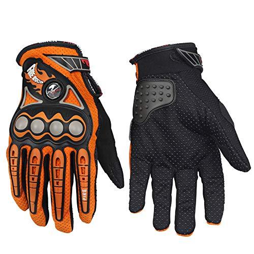Guantes de Motocross para Correr con los Dedos completos, Bicicleta eléctrica, Ciclista, Locomotora, Guantes Antideslizantes l Naranja b