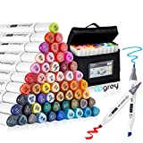 Art Markers, UPGREY 60 Colors Drawing Markers Pens, Dual Tip Alcohol Based Permanent Artist Sketch Markers Set Adults Kids Colored Markers with Carrying Bag for Highlighting, Drawing, Painting