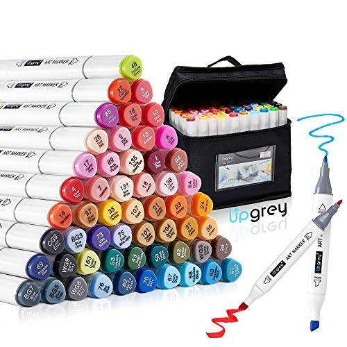 Art Markers, UPGREY 60 Colors Drawing Markers Pens, Dual Tip Alcohol Based Permanent Artist Sketch Markers Set Adults Kids Colored Markers with Carrying bag for Highlighting, Drawing, Painting, Illustration