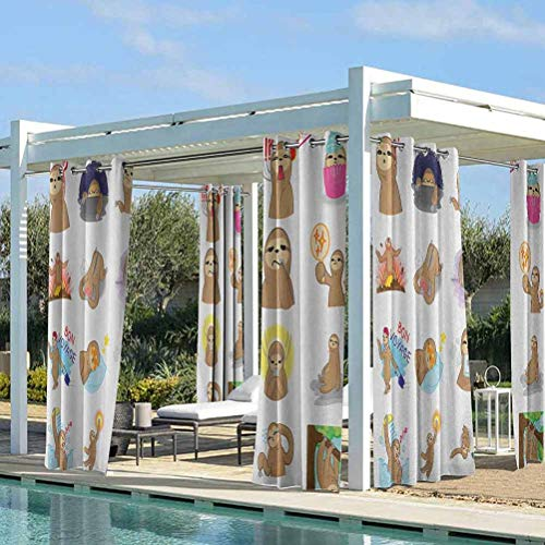 ParadiseDecor Sloth Outdoor Porch Curtains Outdoor Courtyard Decoration Set of Manga Style Sloth Characters with Different Expression and Poses Cute Humorous Multicolor 76W x 108L Inch