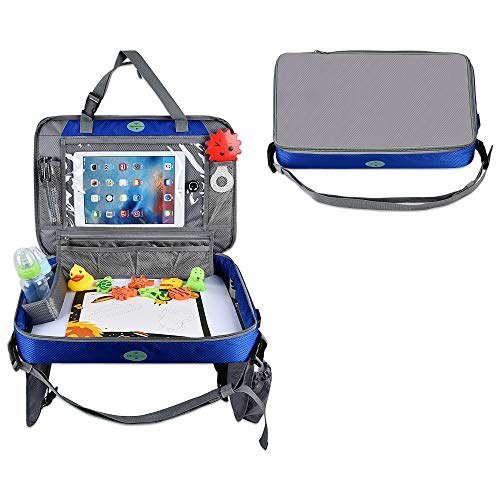 Car Seat Tray – Toddler Travel Tray with Tablet Holder – Car Travel Activity Setup for Kids – Multipurpose Car Seat Tray Table for Snacks, Toys, Water Bottle, USB charging port, Accessories (Blue)