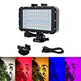 Suptig Video Lighting Dive Light Underwater Lights 72 Led Lights Compatible for Gopro Canon Nikon Pentax Panasonic Sony Samsung SLR Cameras 5 Kinds of Illuminating Colors Waterproof 147ft(45m)