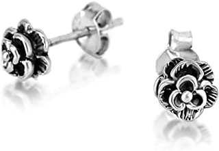925 Oxidized Sterling Silver Tiny Rose Flower 6 mm Post Stud Earrings