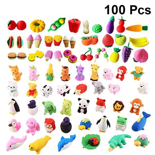 Nuobesty Radiergummi, sortiert, Puzzle, Radiergummi, bunt, Tiere, Obst, in Gemüse-Form, Spielzeug für Kinder, Lernspielzeug, Schule, Schreibwaren, 100 Stück