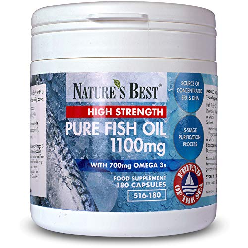 Pure Fish Oil 1100mg – Premium High Strength - 180 Capsules - UK Made - UK's Strongest Omega 3s with EPA 360mg and DHA 240mg