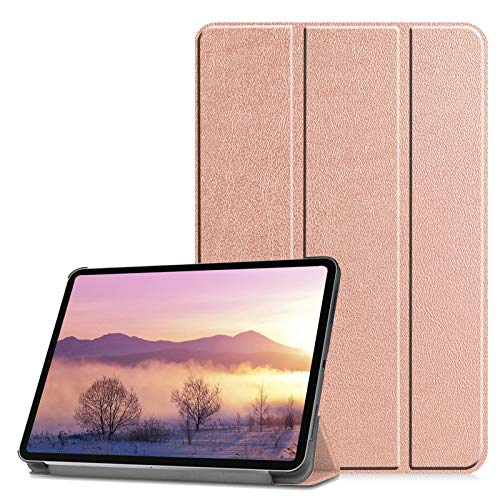 Solid Color Tri-Fold Stand Case for iPad Pro 11 2020 & 2018 with Auto Wake/Sleep, SKYXD [Support Apple Pencil Charging] Slim Fit Lightweight PU Leather & Hard PC Tablet Protective Cover, Rose Gold