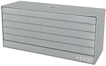 iHome IBN27SX NFC Bluetooth Rechargeable Stereo Mini Speaker in Rubberized Finish - Silver