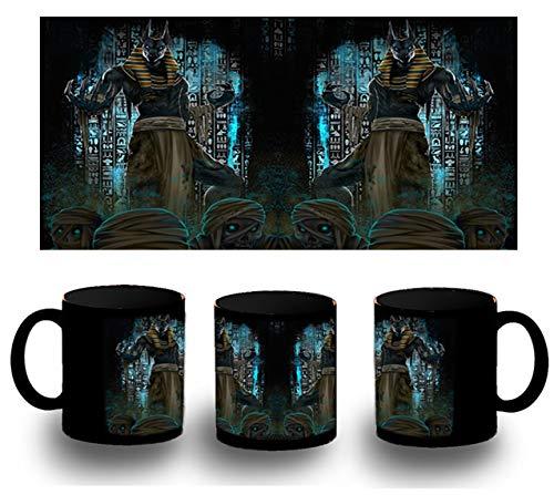 MERCHANDMANIA Taza Completamente Negra Anubis Dios MITOLOGIA EGIPCIA Black mug