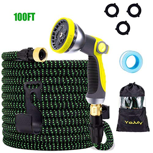 YOJULY Expandable Garden Hose,100 ft Leakproof Lightweight Garden Water Hose -with 10 Function Spray Nozzle and Durable 3-Layers Latex,Best Choice for Watering and Washing