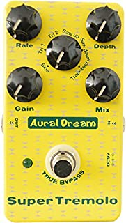 Aural Dream Super Tremolo digital Guitar Effects Pedal with 6 waves including rate,depth and gain control stompbox true bypass