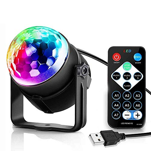 Disco Ball, Party Lights Disco Ball 7 Colors Sound Activated Party Lights with Remote Control Dj Lighting, RBG Disco Ball Strobe Lamp Stage Par Light for Festival Bar Club Party Wedding Show Home