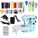 Mcree Mini máquina de coser portátil con mesa de expansión, mano y pie operar modelos, DIY Mending Machine hogar costura herramienta de mano para adultos para ropa de tela, azul
