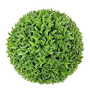 SunnyRoyal Topiary Ball Artificial Outdoor Boxwood Balls Topiary Lifelike Plants, Round Topiary for Indoor/Outdoor Decore, Sungrass 11 Inch, 1 Piece