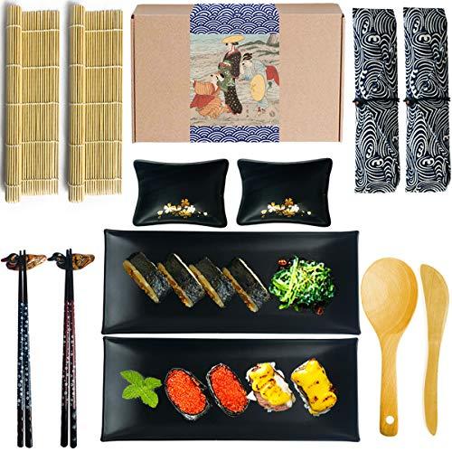 Artcome Sushi Set Komplett 14 Stück- 2xSushi Stäbchen, 2X Essstäbchenauflagen,2xGeschirrtaschen,2X Saucenschalen,2X Teller,2xBambus Sushi Matte, 1xPaddy Paddel,1x Reisstreuer