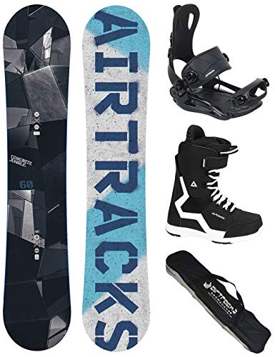 AIRTRACKS SNOWBOARD KOMPLETT SET/JUNGLE SNOWBOARD HYBRID ROCKER + BINDING MASTER FASTEC + BOOTS + SB BAG / 145 150 155 160 cm /