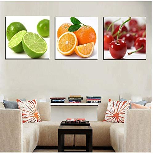 HSFFBHFBH Arte de la Pared Impresión de la Lona Bodegón Frutas Hogar Moderno Naranja Cereza Cartel Lienzo Pintura para la Cocina Decoración de la Pared Regalo 30x30cm (11.8