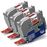 3x Labelwell 18mm x 8m Kompatibel Schriftband Ersatz für Brother Tz TZe-441 TZe441 Schwarz auf Rot für Brother P-Touch PT-D450VP PT-D400 PT-E300VP PT-E500VP PT-P900W PT-P950NW PT-D600VP PT-P750W PT550