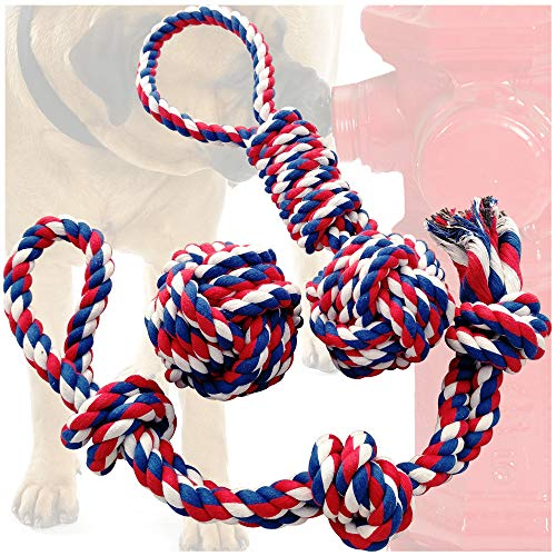 Otterly Pets Dog Toys (Big Size 3-Pack) - 23-Inch 3-Knot, 13.5-Inch Handled Rope with Attached Ball, 4-Inch Ball - Tough Durable (Not Indestructible) Ropes Toy Set for Medium to Large Dogs