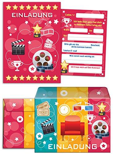 JuNa-Experten 12 Einladungskarten incl. 12 Umschläge zum Kindergeburtstag für Mädchen und Jungen Kino-Party / pink / Umschlag / Bunte Einladungen zum Geburtstag / Bunte Geburtstagseinladungen