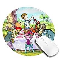 くまのプーさんは友達と会食しています マウスパッド 円形 おしゃれ 高級感 ゲーミング オフィス最適 滑り止めゴム底 耐久性が良 付着力が強い 直径20cmx厚い0.3cm