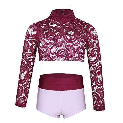 YiZYiF Girls' Kids 2 Piece Athletic Long Sleeve Turtleneck Crochet Top and Shorts Set for Workout/Gymnastics/Dancing Burgundy&Lavender 14
