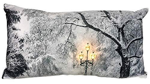 zeitzone LED Kissen Winter im Park Laterne Beleuchtet Weihnachten Dekokissen 45x25cm