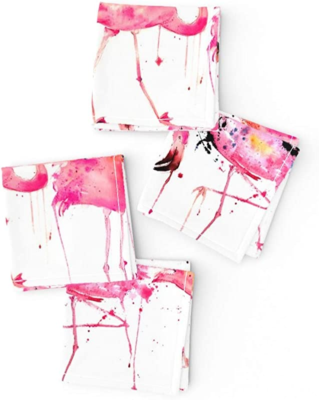 Roostery Large Scale Pink Flamingo Linen Cotton Cloth Cocktail Napkins Flamingos Making A Splash Watercolor Tropical Paint Splatters Summer By Karismithdesigns Set Of 4 10 X 10in