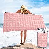 mengmeng Arlequín rosado cheques toalla de secado rápido para deportes gimnasio viajes yoga camping natación super absorbente compacto ligero toalla de playa