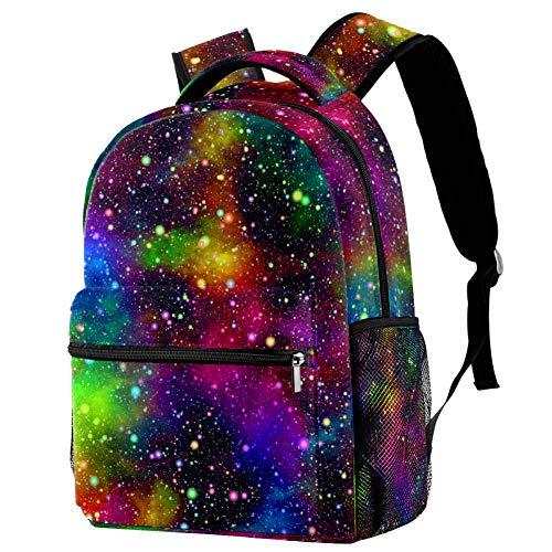 Zaino Scuola Galassia stellata colorata Schoolbag Elementare Media impermeabile Casuale per Ragazze Scuola Borse da Viaggio 29.4x20x40cm