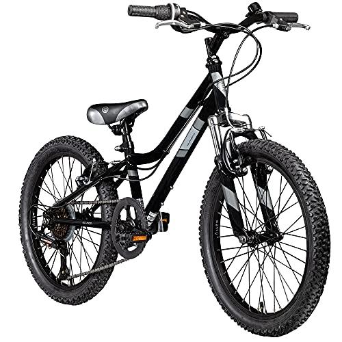 Galano GA20 20 Zoll Kinderfahrrad MTB Jugendfahrrad Mountainbike Jugend Kinder Fahrrad ab 6 (schwarz/grau, 26 cm)