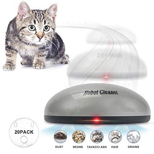 Volwco 2-in-1 lustiges Kehrroboter- und Katzen-Teaser-Spielzeug, automatischer Roboter-Staubsauger, kabelloses elektrisches Haustier-Haarentfernungsmaschinen-Katzenspielzeug