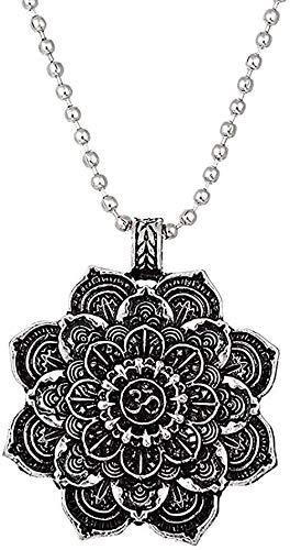 DUEJJH Co.,ltd Collar Retro Tibet Collar Espiritual Flor de la Vida Mandala Colgante Collar Mujeres Hombres Geometría Amuleto Yoga Gargantilla Joyería Religiosa