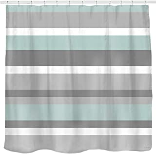 Sunlit Aqua Blue Gray Horizontal Stripes Water-Repellent Fabric Shower Curtain Set with Reinforced Metal Grommets Refreshing Striped Design Bathroom Decor