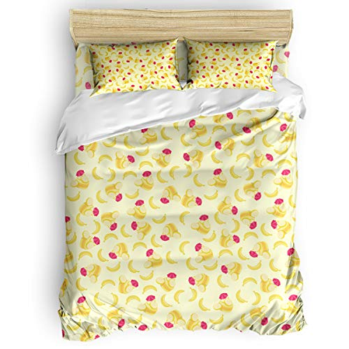 BABE MAPS 4 Piece Duvet Covers Set Washed Microfiber Full Sweet Decor Soft and Breathable Bedding Set with Zipper Closure Wrinkle Free Delicious Macaron Yellow Banana Tasty Yummy