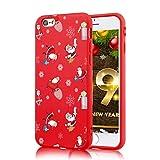 ZhuoFan Funda para Apple iPhone 6 Plus / 6S Plus, Cárcasa Silicona Rojo 3D con Dibujos Navidad Diseño Suave Gel TPU Antigolpes de Protector Case Fundas para Movil Apple iPhone 6 Plus / 6S Plus, Regalo