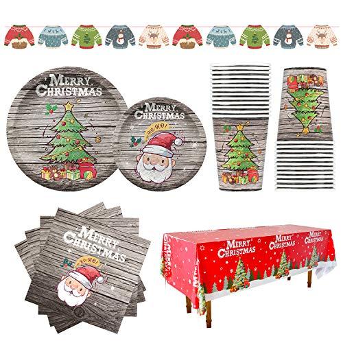 Confezione da 25 coperti da tavola con design natalizio in stile legno, per cena e dessert, con piatti, tovaglioli, bicchierini, tovaglia, ideale per le decorazioni per una festa a Natale