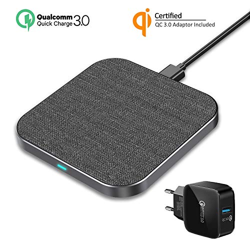 Wefunix 7.5W/10W Cargador Inalámbrico Rápido USB C+Adaptador QC 3.0 Fast Wireless Charger para iPhone 12 Mini 11 XS MAX XR X 8 SE, Mi Mix 2S/3, Samsung Galaxy S10 S9 S8 Note 20/10/9/8, Huawei P30 Pro