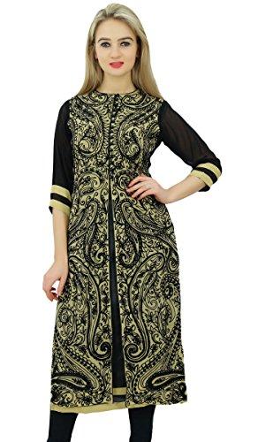 Bimba gerade Paisley bestickte indische Bluse 3/4 Ärmel ethnische Kurti Tunika Frauen