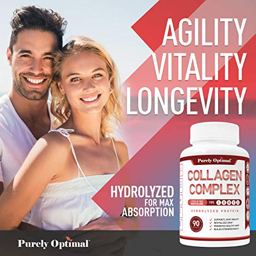 Premium Multi Collagen Peptides Capsules (Types I, II, III, V, X) - Anti-Aging, Hair, Skin and Nails, Digestive & Joint Health Supplement, Hydrolyzed Collagen Pills, Women & Men (90 Collagen Capsules) 3